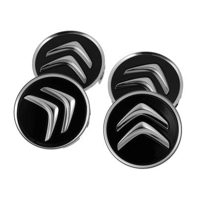 Set of 4 Center caps Citroën - Black