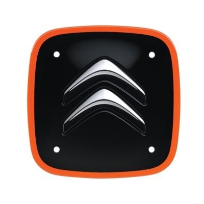 Sada 4 čiernych štvorcových stredových krytiek s oranžovým lemom Citroën