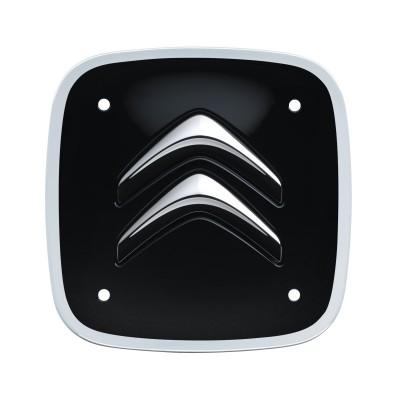 Sada 4 čiernych štvorcových stredových krytiek s bielym lemom Citroën