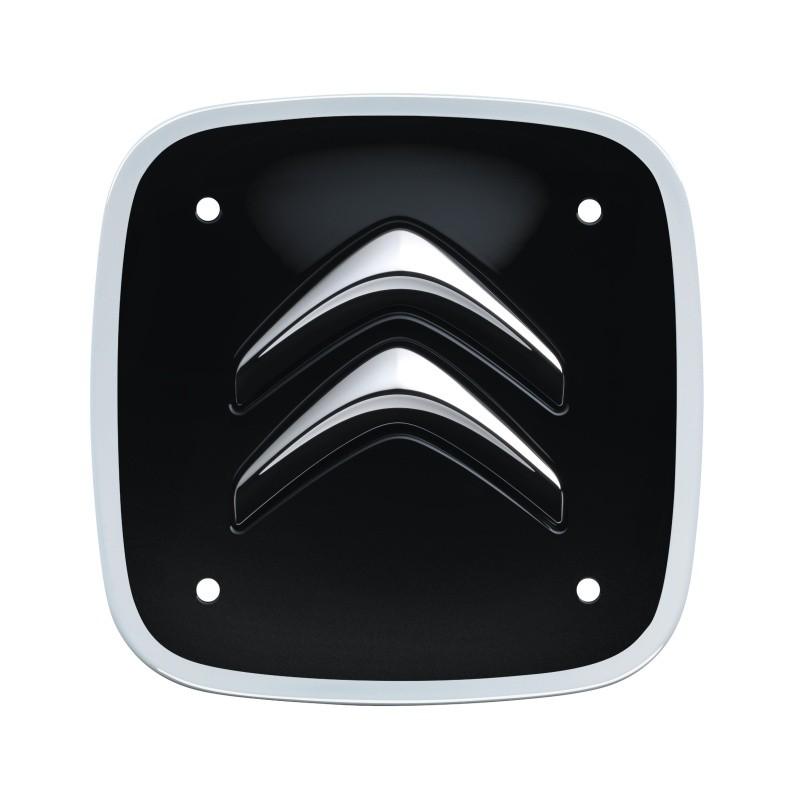 Set of 4 black and white square center caps Citroën
