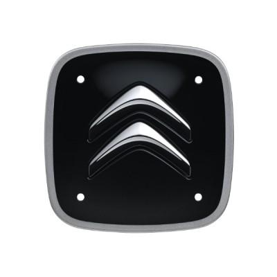 Sada 4 čiernych štvorcových stredových krytiek so strieborným lemom Citroën