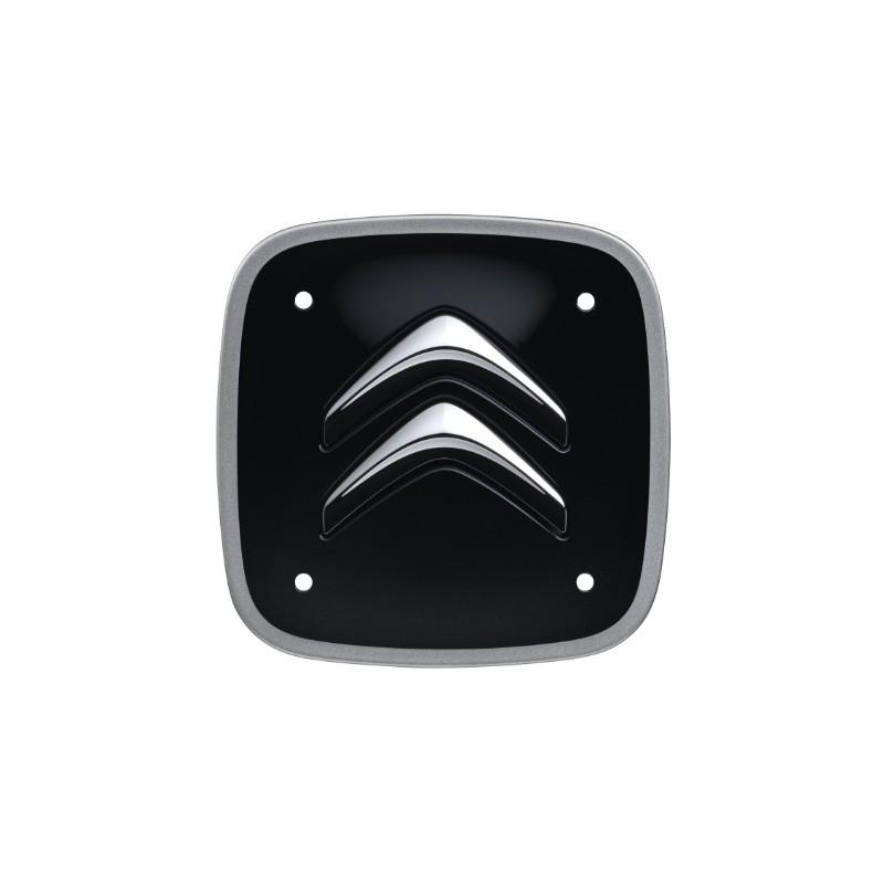 Sada 4 černých čtvercových středových krytek se stříbrným lemem Citroën